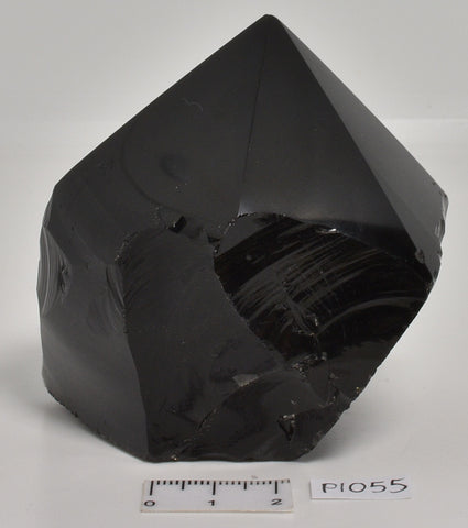 BLACK OBSIDIAN POLISHED CRYSTAL 6 SIDED POINT P1055