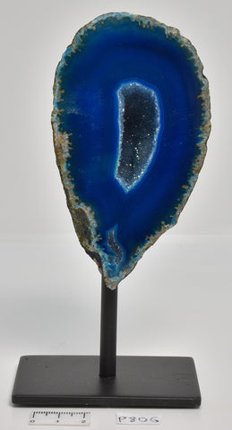 Agate, Dyed, Polished Geode Sliced from Brazil on Stand P806
