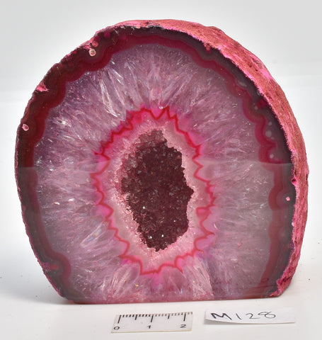 Agate, Dyed, Polished Geode Sliced from Brazil  M128