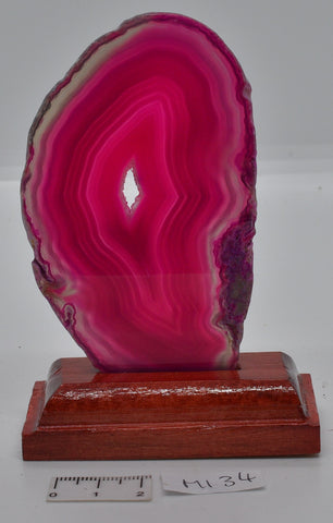 Agate, Dyed, Polished Sliced from Brazil on Stand M134
