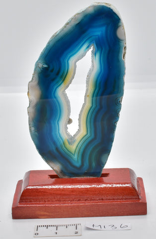 Agate, Dyed, Polished Sliced from Brazil on Stand M136