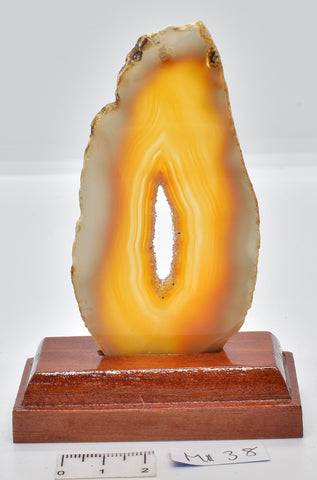 Agate, Dyed, Polished Sliced from Brazil on Stand M138
