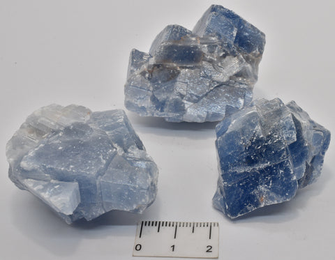3 x BLUE CALCITE CRYSTAL IN NATURAL FORM P1071