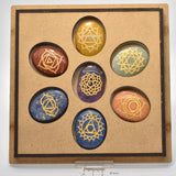 7 Piece Multi Stone Chakra Set With Engraved Symbols and boxed P503