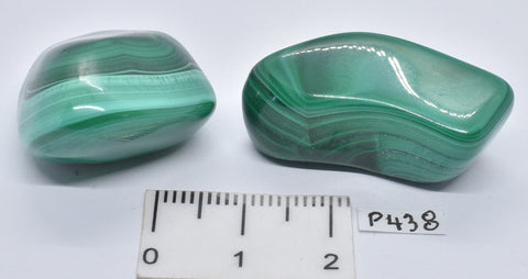 2 x MALACHITE POLISHED CRYSTAL TUMBLE P438