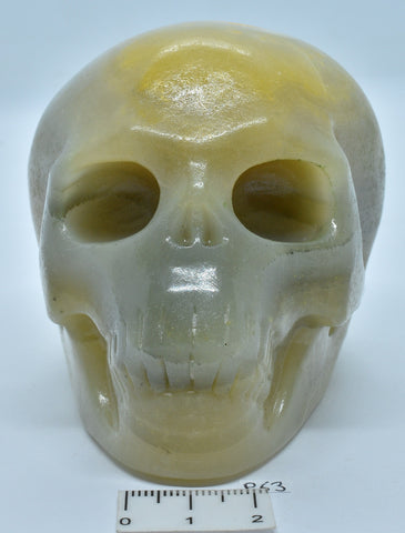 BUMBLE BEE JASPER SKULL CARVING P63