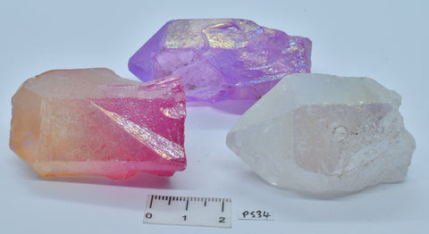 3 x AURA QUARTZ CRYSTAL POINTS P534
