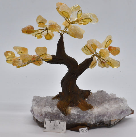 CITRINE CRYSTAL TREE with AMETHYST CLUSTER BASE P210