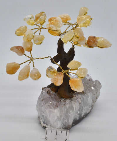 CITRINE CRYSTAL TREE with AMETHYST CLUSTER BASE P211