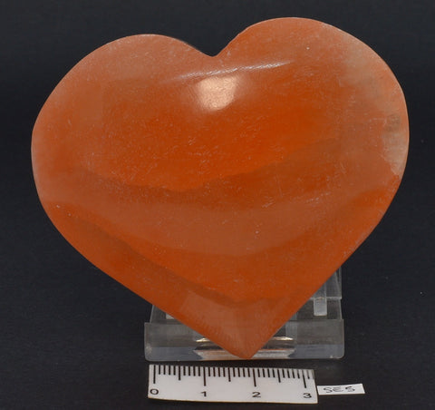 ORANGE SELENITE PUFFY HEART SE5