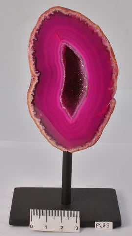 Agate, Dyed, Polished Geode Sliced from Brazil on Stand P285
