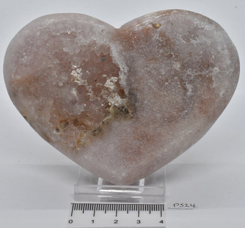 PINK AMETHYST HEART CARVING 10 cm P524