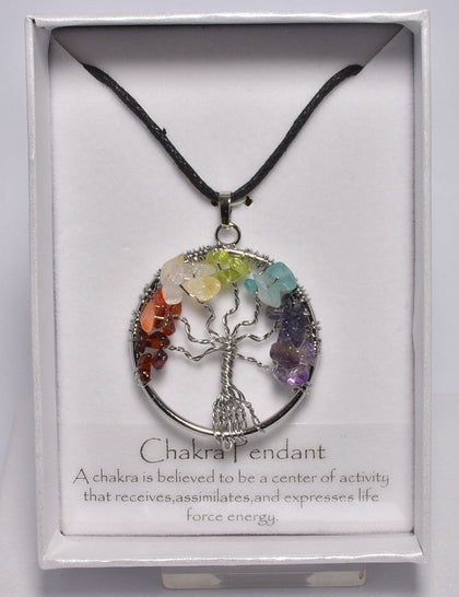 CHAKRA TREE OF LIFE CRYSTAL PENDANT on LEATHER LOOK NECKLACE J45