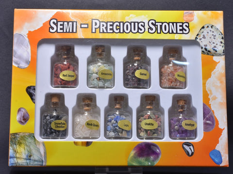 9 SEMI-PRECIOUS STONES IN A BOTTLE
