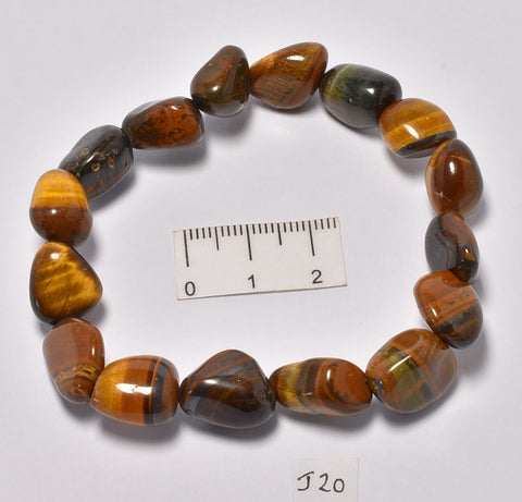 TIGER EYE POLISHED TUMBLE CRYSTAL BRACELET (J20)