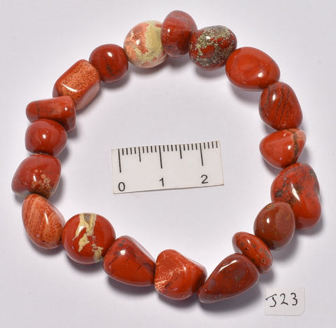 RED JASPER POLISHED TUMBLE CRYSTAL BRACELET (J23)