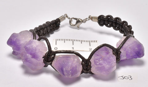 AMETHYST NATURAL POINTS BRACELET 19CM (J03)