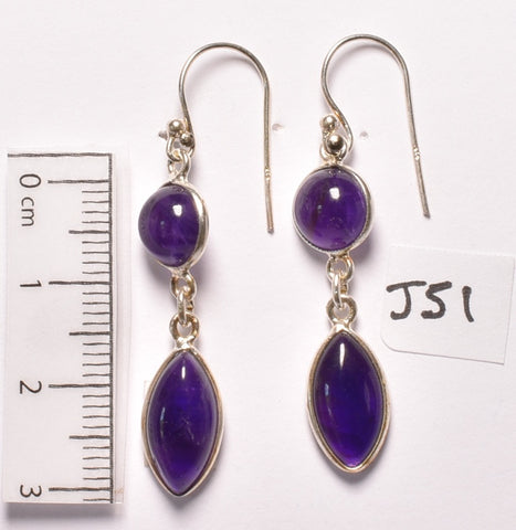AMETHYST EARRINGS in sterling silver setting (J51)