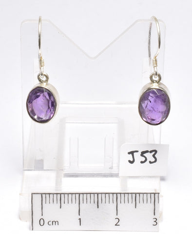 AMETHYST FACETED CRYSTAL EARRINGS 3 CM (J53)