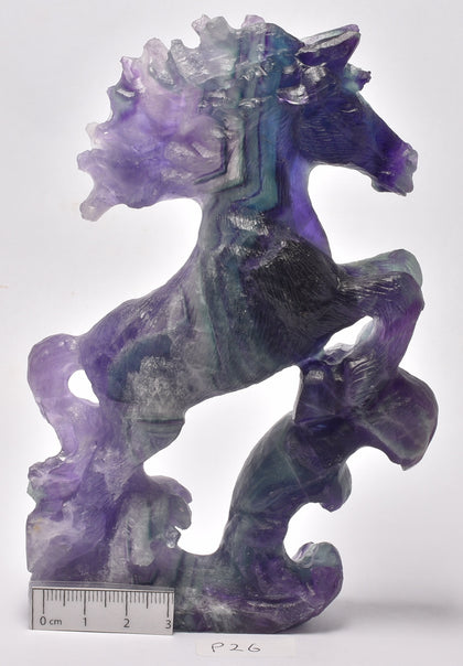 FLUORITE CRYSTAL HORSE CARVING 14.5 cm P37