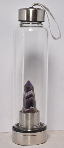 Drink Water Bottle Natural Amethyst Crystal Energy Point Wand Healing