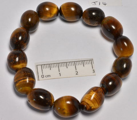 TIGER EYE POLISHED TUMBLE CRYSTAL BRACELET (J14)