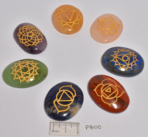 7 Piece Multi Stone Chakra Set With Engraved Symbols P800