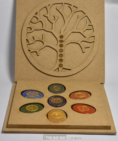 7 Piece Multi Stone Chakra Set With Engraved Symbols and boxed P802