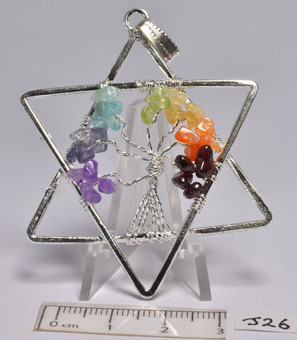 CHAKRA TREE OF LIFE CRYSTAL STAR PENDANT (J26)