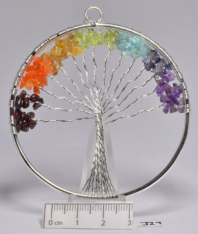 CHAKRA TREE OF LIFE CRYSTAL LARGE CIRCLE PENDANT (J27)