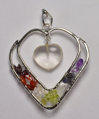 CHAKRA TREE OF LIFE CRYSTAL HEART PENDANT (J41)