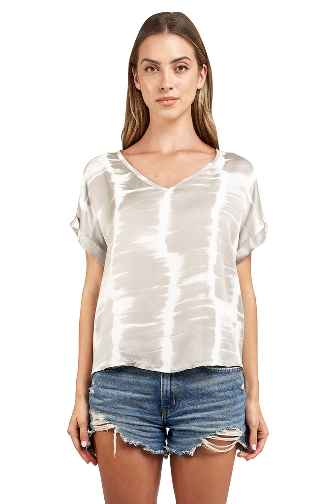 TESSA WHITE GREY TIE DYE TOP