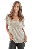 IRENE CHAMPAGNE SEQUINS TOP