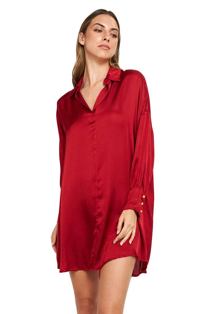 ESTHER RED SATIN TUNIC