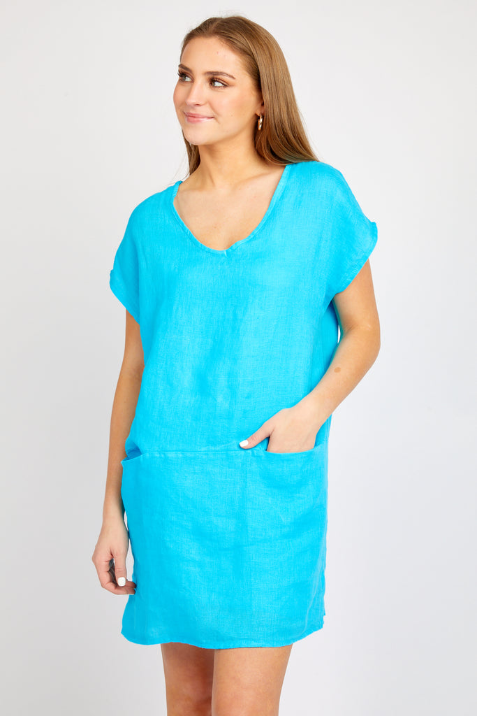 MEGAN TURQUOISE LINEN DRESS