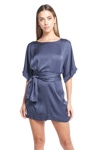 CARMELA SATIN TUNIC - NAVY BLUE