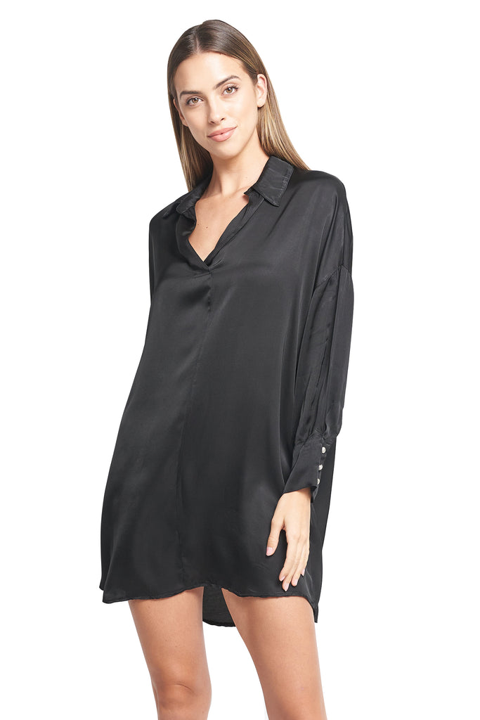 ESTHER BLACK SATIN TUNIC