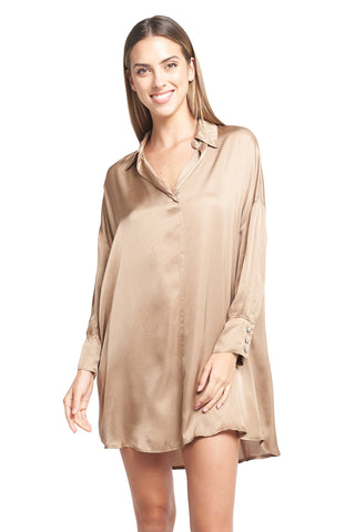 ESTHER CAMEL SATIN TUNIC
