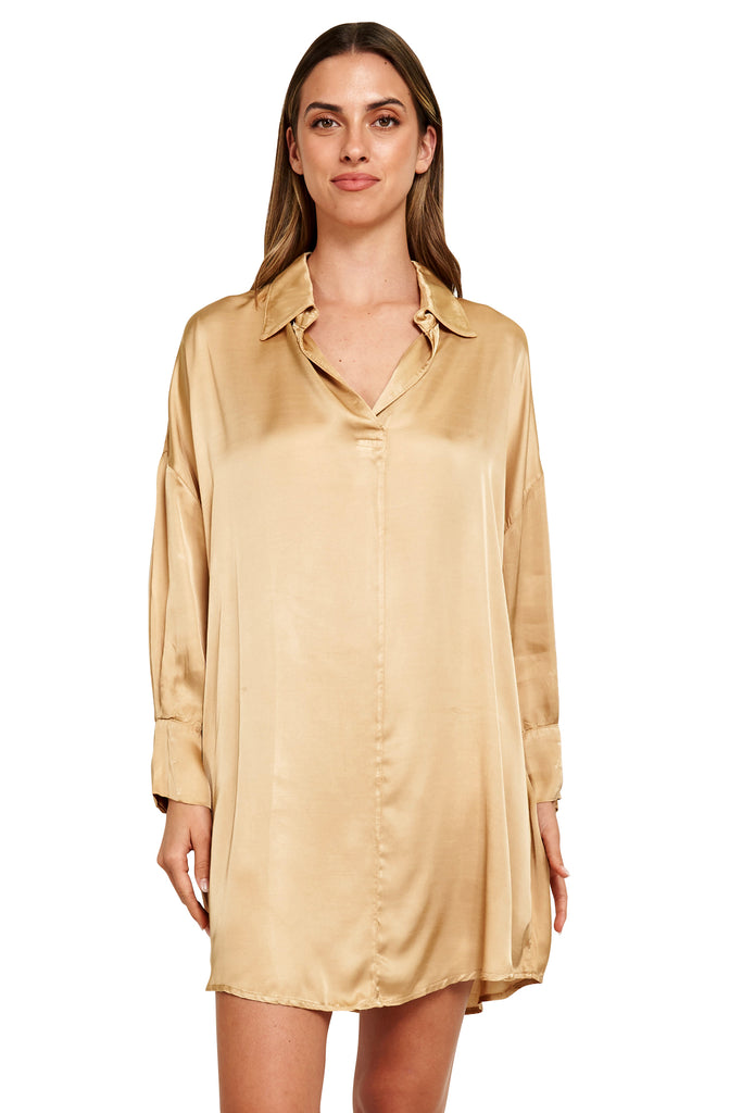 ESTHER GOLD SATIN TUNIC