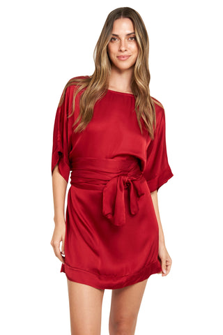 CARMELA RED SATIN TUNIC