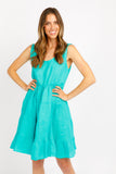 RAY EMERALD LINEN DRESS
