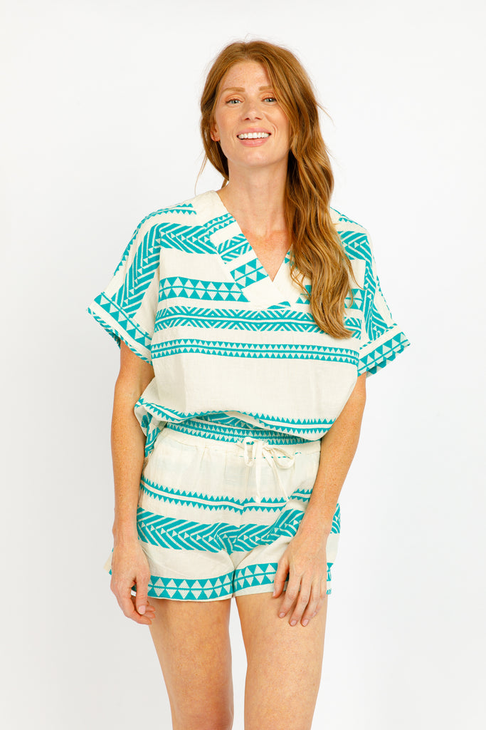 MARTEL TOP IN TURQUOISE