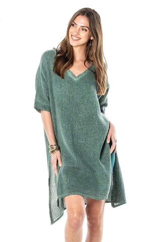JASMINE GREEN V-NECK DRESS