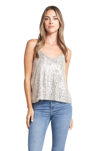 AVA CHAMPAGNE SEQUINS TOP