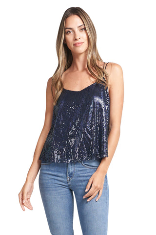 AVA NAVY SEQUINS TOP
