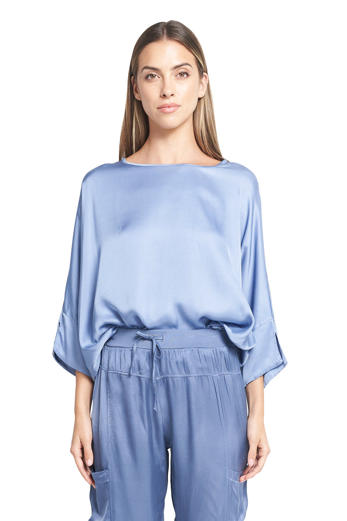 ROULA SATIN TOP FRENCH BLUE