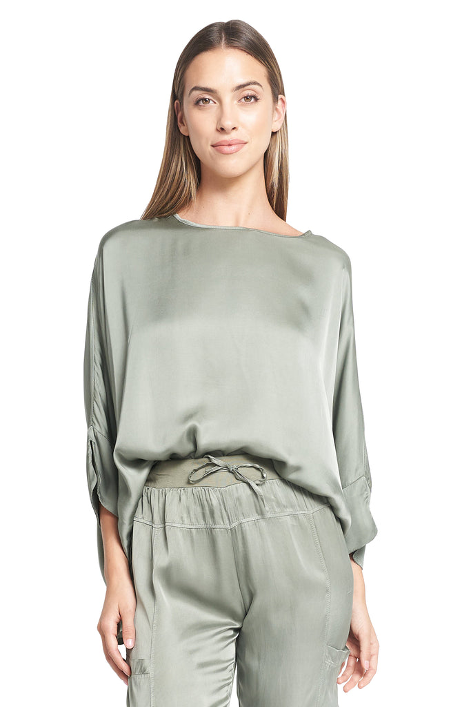 ROULA SATIN TOP MILITARY