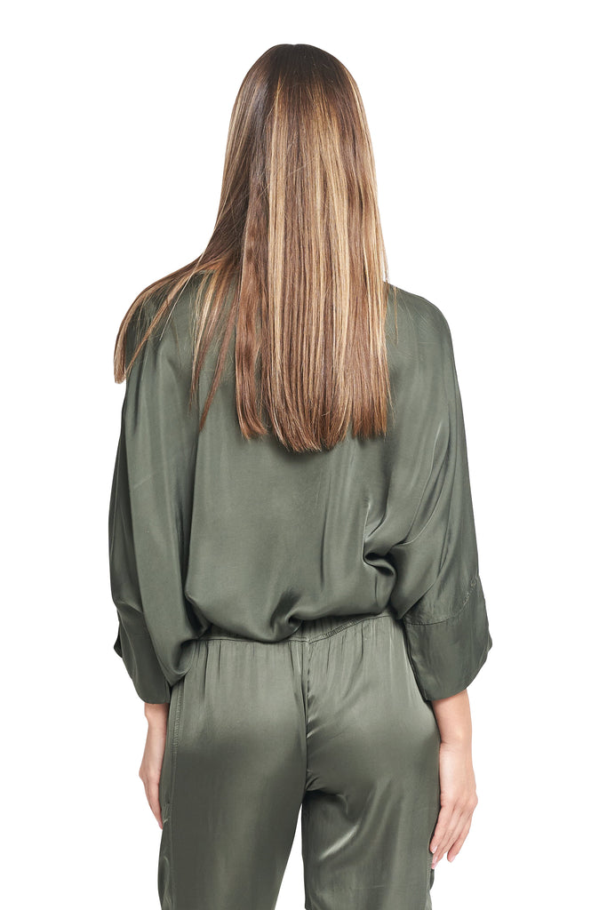 ROULA SATIN TOP OLIVE