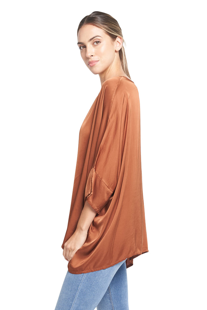 ROULA SATIN TOP TABACOO