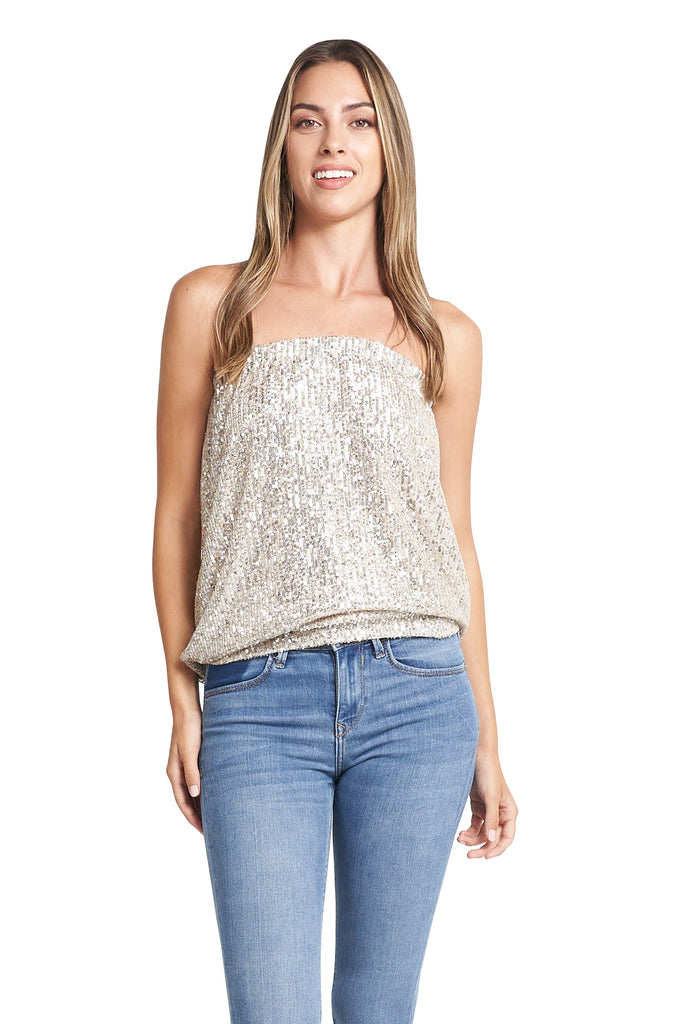 EMA CHAMPAGNE SEQUINS TOP